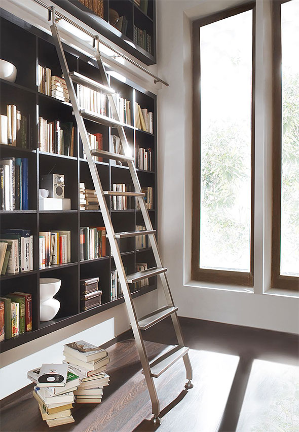 Home Library Ladder: MWE Modern Sliding Library Ladders : SL.6005.AK : Hooked